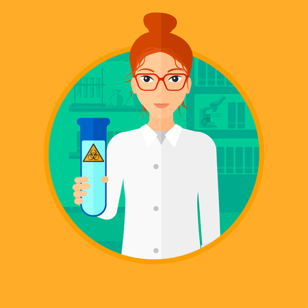 female scientist: A female scientist holding a test tube with biohazard sign. Scientist examining a test tube in a chemical laboratory. Vector flat design illustration in the circle isolated on background. Illustration