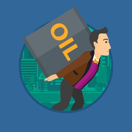 oil barrel: A man carrying an oil barrel on his back. Man with oil barrel walking on a city background. Man with oil barrel on his back. Vector flat design illustration in the circle isolated on background. Illustration