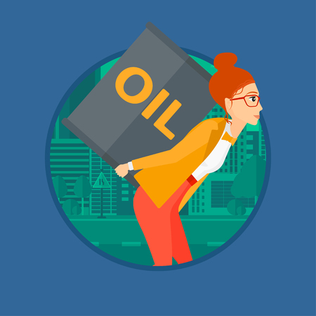 oil barrel: A woman carrying an oil barrel on her back. Woman with oil barrel walking on a city background. Woman with oil barrel on her back. Vector flat design illustration in the circle isolated on background.