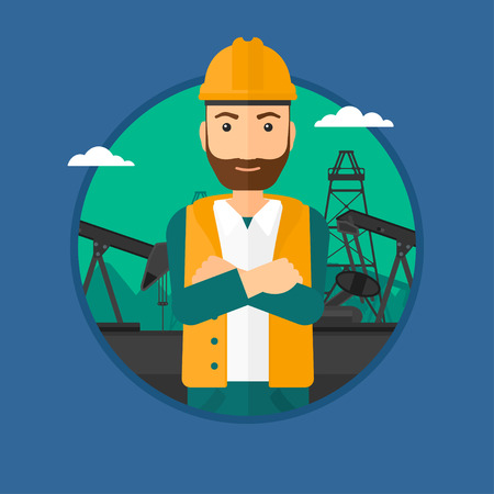 oil worker: A hipster oil worker in uniform and helmet. An oil worker with crossed arms. An oil worker standing on a background of pump jack. Vector flat design illustration in the circle isolated on background.