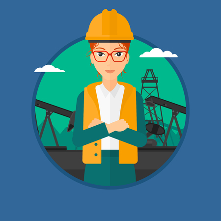 oil worker: A female oil worker in uniform and hard hat. An oil worker with crossed arms. An oil worker standing on a background of pump jack. Vector flat design illustration in the circle isolated on background.