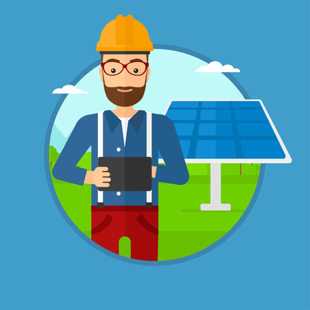 solar power: A hipster worker of solar power plant. Worker with tablet computer at solar power plant. Worker checking solar panel setup. Vector flat design illustration in the circle isolated on background.