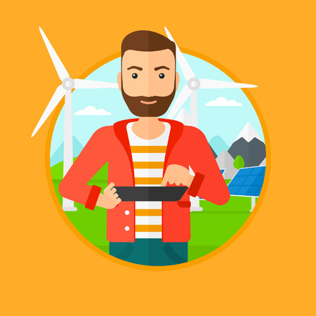 wind farm: A worker of solar power plant and wind farm. Worker with tablet computer on a background of solar power plant and wind turbines. Vector flat design illustration in the circle isolated on background.