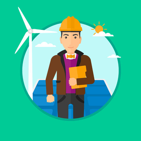 Worker of solar power plant and wind farm. Man with folder on background of solar panel and wind turbine. Green energy concept. Vector flat design illustration in the circle isolated on background.