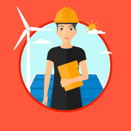 Worker of solar power plant and wind farm. Woman with folder on background of solar panel and wind turbine. Green energy concept. Vector flat design illustration in the circle isolated on background.