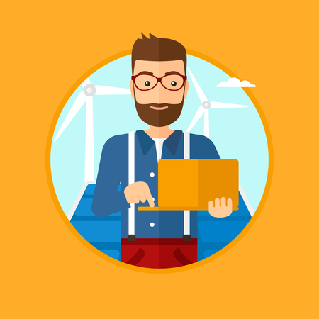 photovoltaic panel: A hipster worker of solar power plant and wind farm. Man with laptop on a background of solar power plant and wind turbines. Vector flat design illustration in the circle isolated on background.