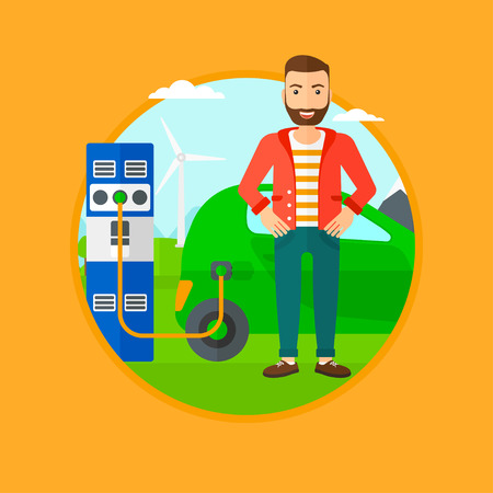 plugging: A hipster man with the beard charging electric car at charging station. Man standing near power supply for electric car charging. Vector flat design illustration in the circle isolated on background.