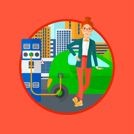 plugging: A woman charging electric car at charging station in the city. Woman standing near power supply for electric car charging. Vector flat design illustration in the circle isolated on background.