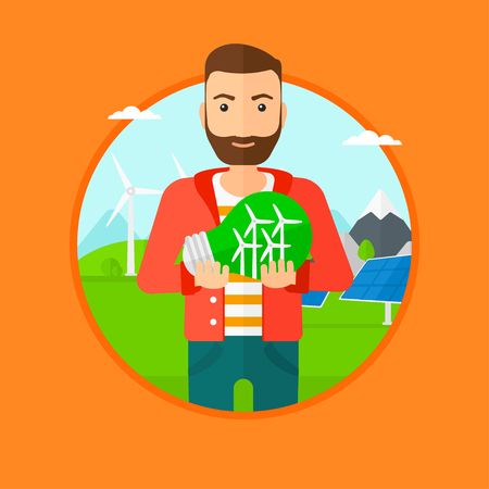 photovoltaic panel: Man holding a big light bulb with small wind turbines inside. Man standing on a background with solar pannels and wind turbines. Vector flat design illustration in the circle isolated on background.