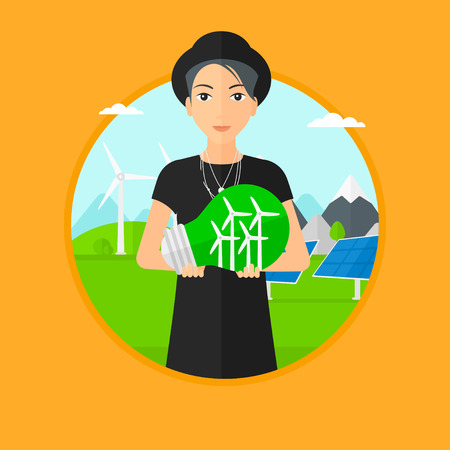 Woman holding a big light bulb with small wind turbines inside. Man standing on a background with solar pannels and wind turbines. Vector flat design illustration in the circle isolated on background. Illustration