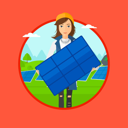 flat panel: Woman holding solar panel. Woman with solar panel in hands standing on background of solar power plant. Renewable energy concept. Vector flat design illustration in the circle isolated on background.