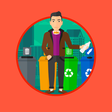 appropriate: Man throwing away plastic bottle. Man standing near four bins in the city and throwing away plastic bottle in an appropriate bin. Vector flat design illustration in the circle isolated on background.