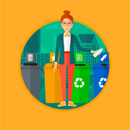 woman throwing: Woman throwing away plastic bottle. Woman standing near four bins in city and throwing away plastic bottle in an appropriate bin. Vector flat design illustration in the circle isolated on background.