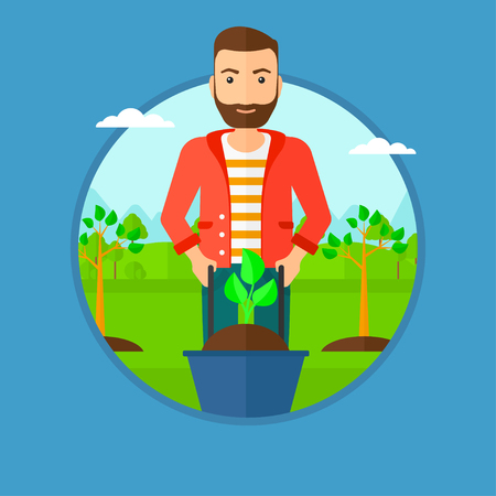 Man pushing wheelbarrow with plant and dirt in the park. A gardener with wheelbarrow on a background of newly planted trees. Vector flat design illustration in the circle isolated on background.