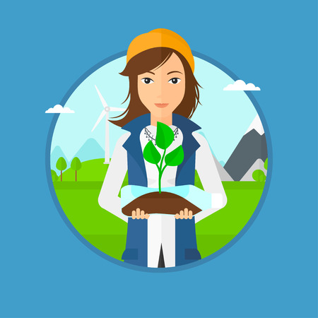 Woman holding in hands plastic bottle with plant growing inside. Woman holding plastic bottle used as plant pot. Recycling concept.Vector flat design illustration in the circle isolated on background. Vettoriali