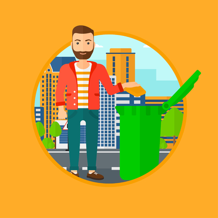 city man: Man throwing away a garbage in a green trash in the city. Man with the beard throwing away trash. Eco-friendly man throwing trash. Vector flat design illustration in the circle isolated on background.
