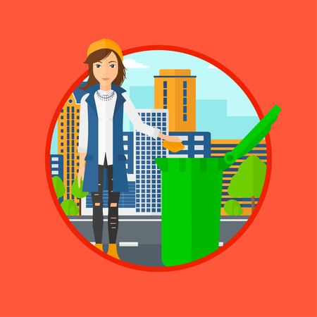 woman throwing: Woman throwing away a garbage in a green trash in the city. Woman throwing away trash. Eco-friendly woman throwing trash. Vector flat design illustration in the circle isolated on background.