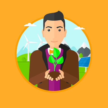 hands holding plant: Man holding in hands green small plant in soil. Man with plant in hands on a background with solar pannels and wind turbins. Vector flat design illustration in the circle isolated on background.