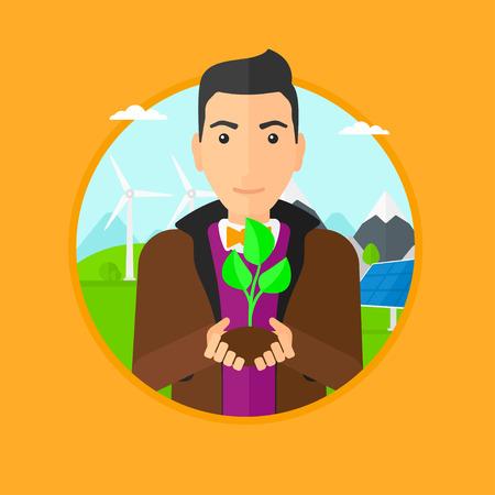 Uomo che tiene in mano verde piccola pianta nel suolo. L'uomo con la pianta in mani su uno sfondo con pannelli solari e turbins vento. Vector design piatto illustrazione nel cerchio isolato su sfondo. Archivio Fotografico - 57948160