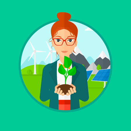 hands holding plant: Woman holding in hands green small plant in soil. Woman with plant in hands on a background with solar pannels and wind turbins. Vector flat design illustration in the circle isolated on background.