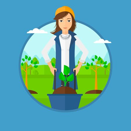 planted: Woman pushing wheelbarrow with plant and dirt in the park. A gardener with wheelbarrow on a background of newly planted trees. Vector flat design illustration in the circle isolated on background.