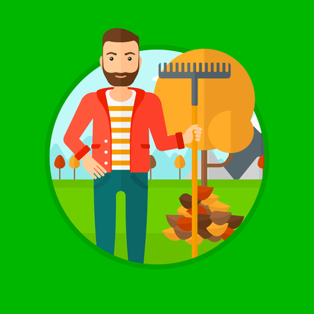 plant tree: Hipster man raking autumn leaves. Man with rake standing near tree and heap of autumn leaves. Man tidying autumn leaves in garden. Vector flat design illustration in the circle isolated on background. Illustration