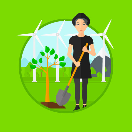 ecologically: A woman plants a tree. Woman standing with shovel near newly planted tree. Woman planting tree on a background of wind turbines. Vector flat design illustration in the circle isolated on background. Illustration
