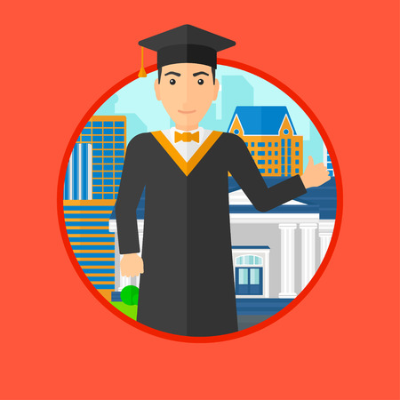 cloak: A graduate in cloak and graduation cap. A graduate giving thumb up. Graduate celebrating on a background of educational building. Vector flat design illustration in the circle isolated on background.