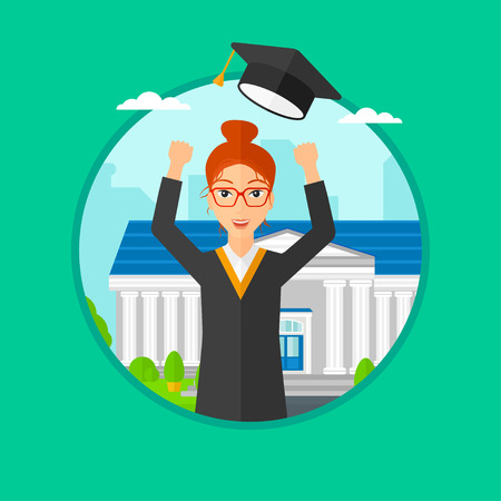gown: Graduate in cloak and graduation hat. Graduate throwing up her hat. Graduate celebrating on a background of educational building. Vector flat design illustration in the circle isolated on background. Illustration