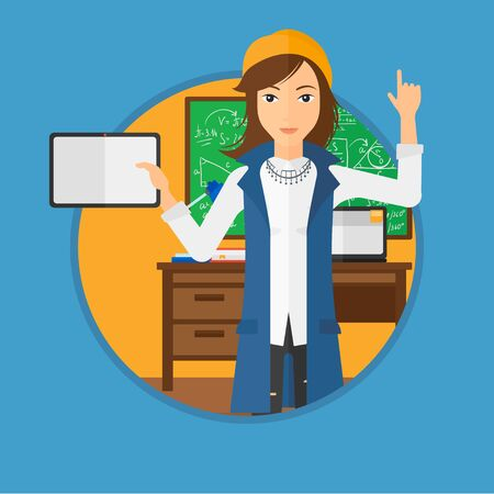 woman tablet: Student using a tablet computer in training class. Woman with tablet computer pointing her forefinger up. Education technology. Vector flat design illustration in the circle isolated on background. Illustration