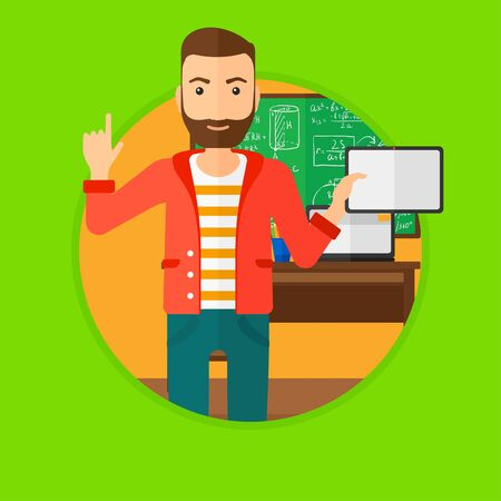 Student using a tablet computer in training class. Hipster man with tablet computer pointing forefinger up. Education technology. Vector flat design illustration in the circle isolated on background. Illustration