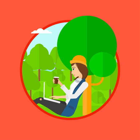 laptop outside: Student with cup of coffee sitting in the park and using laptop. Student working on laptop outdoor. Student with laptop in park. Vector flat design illustration in the circle isolated on background.