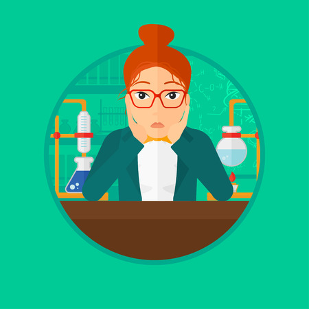 carrying out: Student carrying out experiment in science class. Student working at laboratory class. Student clutching head at chemistry class. Vector flat design illustration in the circle isolated on background.