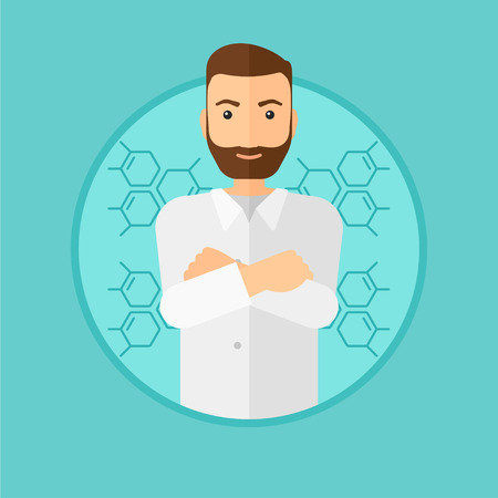 assistant: A hipster laboratory assistant with hands crossed. Confident laboratory assistant on a blue background with molecular structure. Vector flat design illustration in the circle isolated on background. Illustration