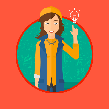 Woman pointing finger up at the light bulb. Young woman with light bulb on a background of blackboard with mathematical equations. Vectr flat design illustration in the circle isolated on background.
