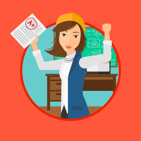 cartoon school girl: Student holding a sheet with the highest mark. Student showing test with A grade in the classroom. Student received best mark. Vector flat design illustration in the circle isolated on background.