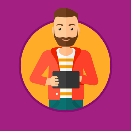 tablet computer: A hipster man with the beard holding a tablet computer. Student working on tablet computer. Man with tablet computer. Vector flat design illustration in the circle isolated on background. Illustration