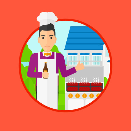backyard: Man with bottle in hand cooking meat on gas barbecue grill in the backyard and giving thumb up. Man cooking meat on barbecue. Vector flat design illustration in the circle isolated on background. Illustration