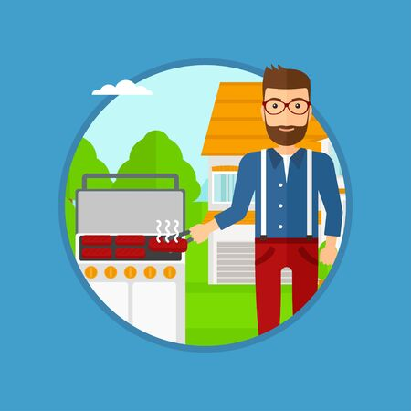Man cooking meat on gas barbecue grill in the backyard. Man preparing food on barbecue grill. Man having outdoor barbecue. Vector flat design illustration in the circle isolated on background. Illustration