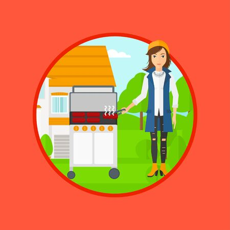 backyard woman: Woman cooking meat on gas barbecue grill in the backyard. Woman preparing food on barbecue grill. Woman having outdoor barbecue. Vector flat design illustration in the circle isolated on background.