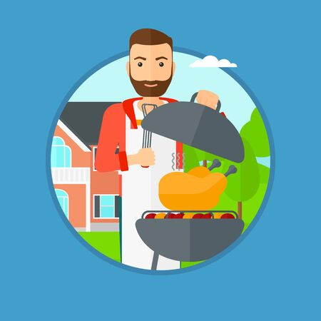 A hipster man cooking chicken on barbecue grill in the backyard. Man having a barbecue party. Man preparing chicken on grill. Vector flat design illustration in the circle isolated on background.