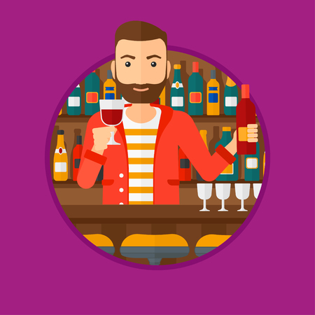 bar counter: A hipster bartender with the beard standing at the bar counter. Bartender with a bottle and a glass in hands. Bartender at work. Vector flat design illustration in the circle isolated on background. Illustration