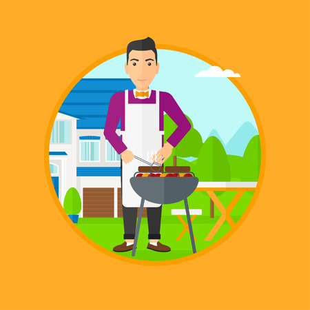 backyard: Man cooking meat on the barbecue grill in the backyard. Man preparing food on the barbecue grill. Man having outdoor barbecue. Vector flat design illustration in the circle isolated on background.