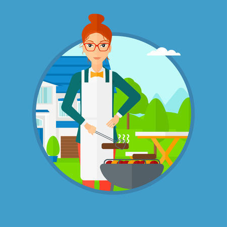 backyard: Woman cooking meat on the barbecue grill in the backyard. Woman preparing food on barbecue grill. Woman having outdoor barbecue. Vector flat design illustration in the circle isolated on background.