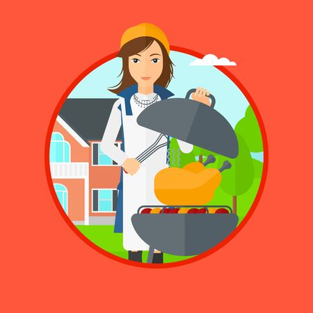 backyard woman: A woman cooking chicken on barbecue grill in the backyard. Woman having a barbecue party. Woman preparing chicken on the grill. Vector flat design illustration in the circle isolated on background.