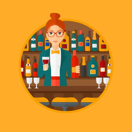 bar counter: Female bartender standing at the bar counter. Female bartender with a bottle and a glass in hands. Female bartender at work. Vector flat design illustration in the circle isolated on background.