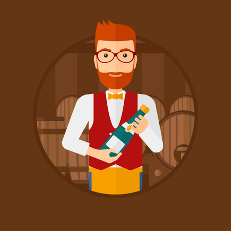 A hipster waiter with the beard standing in wine cellar. Waiter with bottle in hands standing on the background of wine barrels. Vector flat design illustration in the circle isolated on background. Illustration