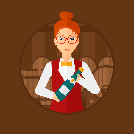 Waitress standing in wine cellar. Waitress with bottle in hands standing on background of wine barrels. Sommelier in wine cellar. Vector flat design illustration in the circle isolated on background.