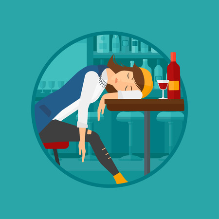 A drunk woman deeply sleeping near the bottle of wine and glass on table. Drunk woman sleeping in bar. Alcohol addiction concept. Vector flat design illustration in the circle isolated on background. Illustration