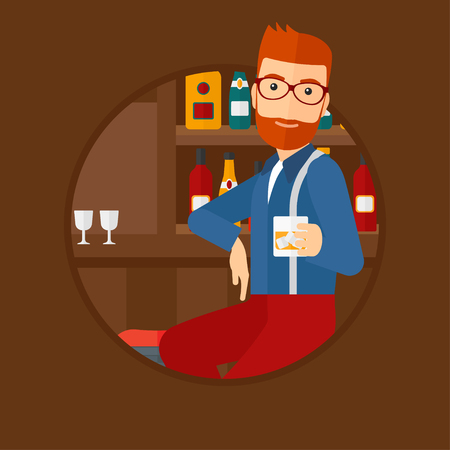 bar counter: A hipster man sitting at the bar counter. Man sitting with glass in bar. Cheerful young man sitting alone at the bar counter. Vector flat design illustration in the circle isolated on background.